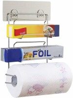 House of Quirk Magic Sticker Series Kitchen Paper Roll Holder Self Adhesive, 3 in 1 Wall Mounted Storage Rack, Catering Aluminium Foil, Cling Film Wrap, Wax Paper Stand, Tissue Roll Dispenser Magic Sticker Series Kitchen Paper Roll Holder Self Adhesive, 3 in 1 Wall Mounted Storage Rack, Catering Alu