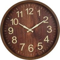 Adonai Analog 25 cm X 25 cm Wall Clock(Brown, With Glass)
