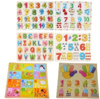 Nabhya Wooden Educational Board for Kids Pack Of 6 Trays ABCD And 123 With Picture(Multicolor)
