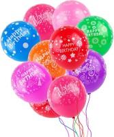 Just Flowers Printed Happy Birthday Multicolored Balloons - Pack of 25 Balloon(Multicolor, Pack of 25)