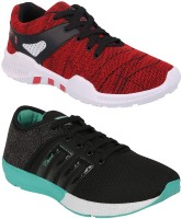 Chevit Combo Pack of 2 Sports Shoes (Walking Shoes) Running Shoes For Men(Black, Red)