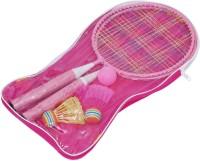 Leosportz Durable Kids play Mini Badminton racket Set with 2 Shuttles Pink Strung Tennis Racquet(Pack of: 2, 200 g)