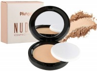 O3+ Plunge Nudes Compact Powder Makeup Foundation for Even Tone, Blemish and Imperfection Cover with Sponge and Mirror (01 SHELL) Compact(Brown)