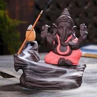 DreamKraft Polyresin Ganesha Smoke Fountain Backflow Cone Incense Holder Decorative Showpiece Decorative Showpiece  -  10 cm(Polyresin, Multicolor)
