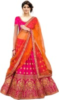 Kedar Fab Embroidered Semi Stitched Lehenga, Choli and Dupatta Set(Pink)