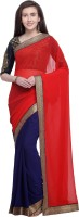 Anand Sarees Solid Fashion Poly Georgette Saree(Red)