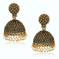 9802a18ccf4 Divastri Wedding Traditional Jhumka earrings for girls women gold plated  Fancy Party wear Earings Pearl Alloy