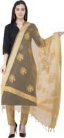 A R Silk Tussar Silk Self Design Women Dupatta