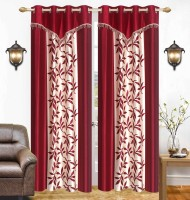 Ville Style 214 cm (7 ft) Polyester Door Curtain (Pack Of 2)(Floral, Maroon)