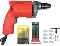 INDITRUST 350 W Electric Drill Machine with Powerfull Bits 10MM DRILL MACHINE COMBO Drill Bit set for drilling 5 Pcs MASNORY & 13 Pcs. HSS Twist Drills + SCREW+ANCHOR Pistol Grip Drill(10 mm Chuck Size)