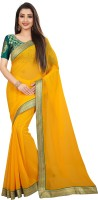 Anand Sarees Solid Bollywood Chiffon Saree(Yellow)