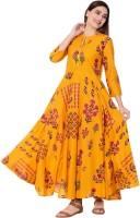 Gulmohar Jaipur Women Printed Flared Kurta(Yellow, Pink, Green)