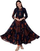 Gulmohar Jaipur Women Printed Flared Kurta(Blue)