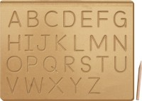 The Kiddy Depot Tracing Board - English Alphabet Uppercase Wooden With Dummy Pencil(Brown)