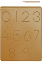 The Kiddy Depot Tracing Board - Number 0 - 9 Wooden Board With Pencil(Brown)
