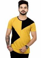 EG Color block Men Round Neck Yellow T-Shirt