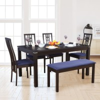 HomeTown Solid Wood 6 Seater Dining Set(Finish Color - Dark Walnut)