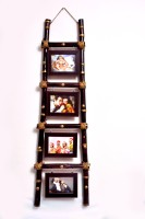 SAWAN SHOPPING MART Beautifully hand crafted from Bamboo wood, LADDER COLLAGE FRAME / VINTAGE INSPIRED, Ladder Leaner/ Hanger Collage Frame(5x7Inch frame size)Dark Brown 7 inch  Photo Frame(512 MB, Multicolor)