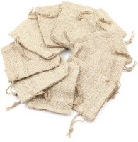 Lifekrafts Drawstring Jute linen Potli  Festival,Birthday & Party Favour Gift Bags for Return Gifts Bags  20 Pack  Size 10 x 10cms   Jute Linen,Burlap   Natural Jute Color  Pouch(Brown, Pack of: 20)