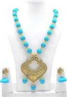 mds fashions Plastic, Wood, Silk Dori, Stone Jewel Set(Blue, Gold)