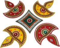 iKreation Acrylic Diya Rangoli (big) (5 pcs) Red, Green and Yellow (32 CM x 32 CM) Rangoli Stencil