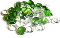 DAY Green And Transparent Glass Pebbles Vase Fillers(100g) Vase Filler(Decorative stones,marbles)