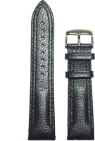 KOLET Dotted Double Stitched 22 mm Genuine Leather Watch Strap(Black)