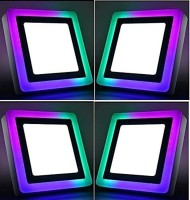 d'mak 16 Watt Square Surface Dual Multi Color PGB (Pink,Green,Blue) LED Panel Light White+Pgb Lamp Downlight AC 100-265V Lights with IC Driver Energy Super Saver (16.00 Watts) | led color panel light | (Pack OF 04) Recessed Ceiling Lamp