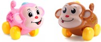 Nabhya Set Of 2 Wind Up Monkey Vechicle Toy(Multicolor)