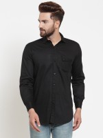 A-Okay Men's Solid Casual Black Shirt