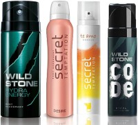 Wild Stone Hydra Energy Deodorant (150 ml), Code Steel Body Perfume(120 ml) and ST Desire Deodorant (150 ml), Te Amo Breeze Body Perfume (120 ml), Pack of 4 Perfume Body Spray  -  For Men & Women(540 ml, Pack of 4)