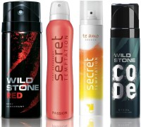 Wild Stone Red Deodorant (150 ml), Code Steel Body Perfume(120 ml) and ST Passion Deodorant (150 ml), Te Amo Breeze Body Perfume (120 ml), Pack of 4 Perfume Body Spray  -  For Men & Women(540 ml, Pack of 4)