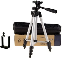 techobucks New Arrival Adjustable Portable Aluminium Lightweight Camera Stand Tripod-3110 With Three-Dimensional Head & Quick Release Plate For Video Cameras and mobile clip holder for All Mobiles & Smartphones Tripod(Silver, Black, Supports Up to 3200 g)