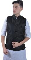 indiroots Sleeveless Self Design, Solid Men Jacket