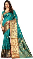 Shoppershopee Printed Kanjivaram Poly Silk, Pure Silk Saree(Light Green)
