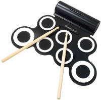 Powerpak Portable Electronic Stereo Digital Silicone Roll Up Drum Pad Set with Dual Built in Speakers ( G3001A White)(Black, White)