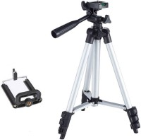 Ruhi Tripod-3110 40.2 Inch Portable Camera Tripod With Three-Dimensional Head & Quick Release Plate Tripod Tripod(Black, Silver, Supports Up to 1000 g)