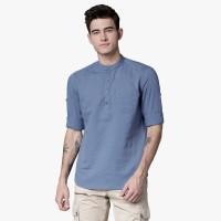 Highlander Men Solid Casual Blue Shirt