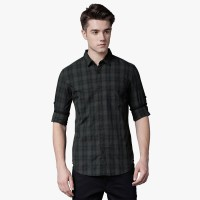 Highlander Men Checkered Casual Black Shirt