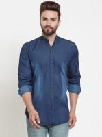 F2M Men Solid Casual Blue Shirt