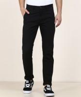 Peter England University Slim Fit Men Black Trousers