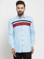 A-Okay Men Color Block Casual Blue Shirt