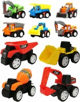 Wishkey 10 Pcs Construction Vehicles Pull Back Toy Cars Playset,Truck Model Kit for Children Toddler Kids Mini Engineering Educational Toys(Multicolor)