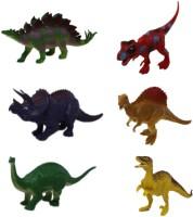 Shoppernation Dinosaur Figure Toys 6 Inch Plastic Dinosaur Playset T-Rex, Brachiosaurus, Stegosaurus, Kentrosaurus, Pachyrhinosaurus, Raptor (Pack of 6) (1TNG302)(Multicolor)