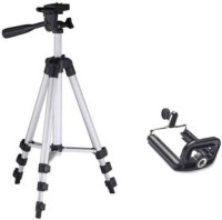 GROSTAR Tripod-3110 Portable Adjustable Aluminum High Quality Lightweight Camera Stand With Three-Dimensional Head & Quick Release Plate For Video Cameras Foldable Camera Tripod With Mobile Clip Holder Bracket Tripod Tripod(Silver, Black, Supports Up to 3200 g)