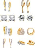 Zeneme White Ad American Diamond Combo of 8 Drop Earrings Jewellery For Women & Girls Alloy Earring Set