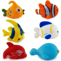 Wishkey Chu Chu Bath Toys For Baby Aquatic Fish Animals Set of 6 Non Toxic BPA Free Bath Toy(Multicolor)