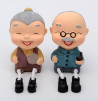 Store2508 Cute Laughing Old Couple Hanging Legs Showpiece (Pair) for Home Décor. Very Nice Gift Item (Design 111) Decorative Showpiece  -  12 cm(Polyresin)