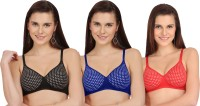 Selfcare New Polka Dot Design Padded Women's T-Shirt Lightly Padded Bra(Black, Blue, Red)