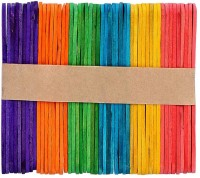 KRAFTMASTERS 100Pcs Wood Sticks Kids Hand Crafts Lollipop Ice Cream Lolly Cake Pops Making Party Supplies Colorful Large - 15cm x 2cm.